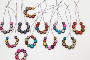 JoiRae Textiles' Itajime Felt Bead Necklaces